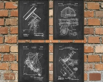 Astronomy Patent Prints Set of 4 - Astronomer Patent Wall Art - Telescope Space Observatory Dome Radio Telescope - Astronomer Gift Idea