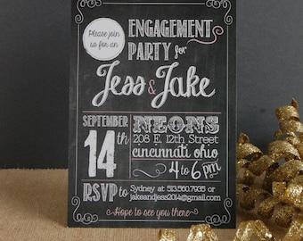 Engagement Party Invitation Chalkboard Style - Printed Cards with Envelopes