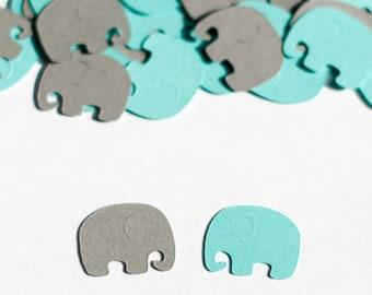 Elephant Baby Shower, Elephant Confetti, Aqua and Gray, Elephant Baby Shower