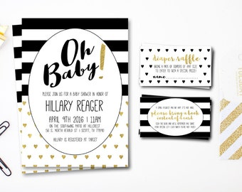 Black White And Gold Baby Shower Invitation - Black and White Stripes Baby Shower Invitation - Gold Foil Baby Shower Invitation - Printable