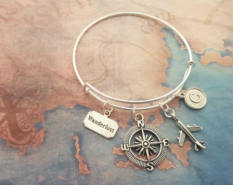 Travel Bangle, Wanderlust Jewelry, Compass Jewelry, Personalised Bangle, Silver Bracelet, Adjustable Bangle, Expandable Bangle, Travel Gift