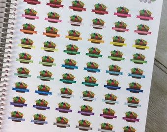 Farmers Market with Produce Basket Planner Stickers ~ Full Page ~ 4324F