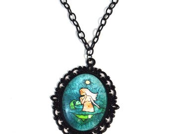 Mermaid in Love Necklace - 16 Inches - Mermaid Necklace - Free US Shipping