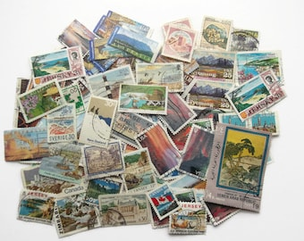 20 x landscape scenery world postage stamps | modern vintage random mixed used stamps | crafting, collage, upcycling, decoupage, collecting