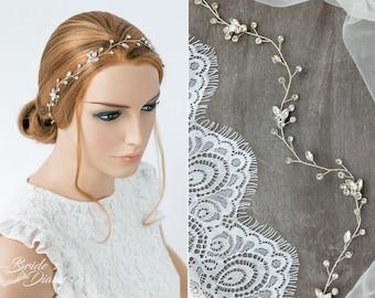 Wedding hair jewelry, rhinestones crystals bridal hair vine, silver or gold headpiece, bridal hairpice