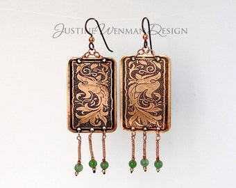 Copper Earrings Etched w/ Phoenix Motif Green Bead Dangles Pierced Niobium Ear Wires