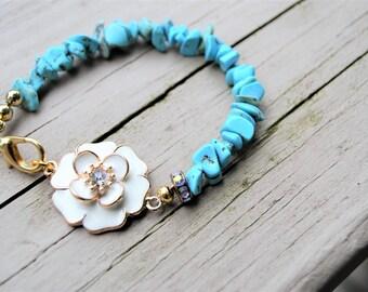 TURQUOISE CHIP FLORAL Bracelet White Enamel Flower Gold Clip Closure Genuine Turquoise