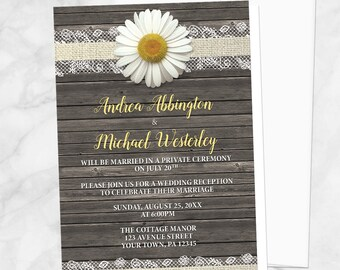 Daisy Reception Only Invitations - Burlap and Lace - Yellow White and Beige with Rustic Brown Wood - Post-Wedding Reception - Printed
