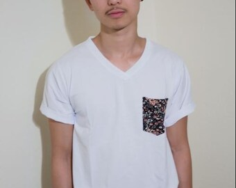 Limited Floral Pocket V Neck Shirt