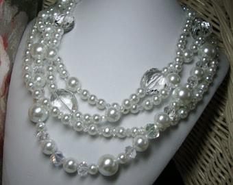 Coco Pearl & Crystal Necklace Bridal Formal Wedding Jewelry