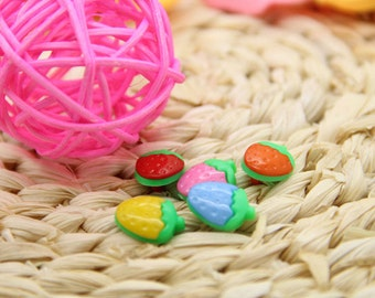 80 pieces 15mm Resin Buttons ,Multi-colored buttons, Strawberry buttons, Round shirt Buttons,Buttons for child (6-135)