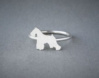 SCHNAUZER RING / Schnauzer Ring / Silver Dog Ring / Dog Breed Ring / Silver, Gold Plated or Rose Plated.