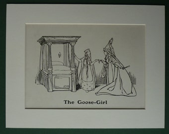 1929 Vintage Print Of The Grimm Brothers Fairytale The Goose Girl - Fairy Queen - Princess - Fairy Tale - Folk - Children's Illustration