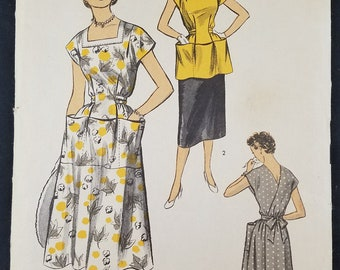 Vintage 1950s Advance Pattern 6111 Ladies Wrap Around Dress Bust 32-34