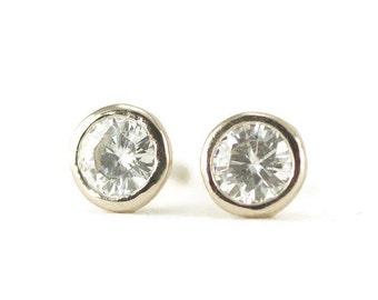 Sterling Moissanite Studs - Bezel Set Forever One Post Earrings - Tiny 4mm Studs