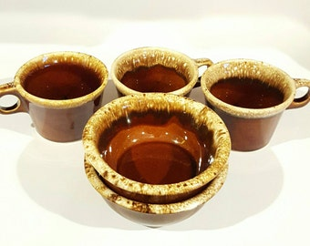 Hull Brown Drip Glaze Cups and Bowls
