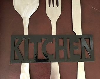 Kitchen Metal Sign, Knife Fork and Spoon Wall Decor,  Metal Kitchen Decor, Fork and Spoon, Metal Kitchen Sign, Gift for Foodi
