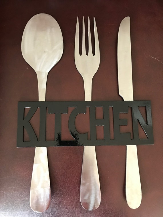 Kitchen Metal Sign Knife Fork And Spoon Wall Decor Metal