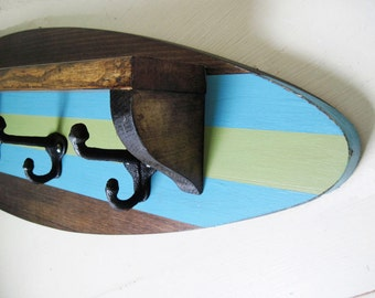 """Surfboard Shelf Coat Rack in Dark Stain,Turquoise and Green 28"""""""