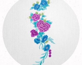 Blue and Purple Big Floral Applique 20X70 cm