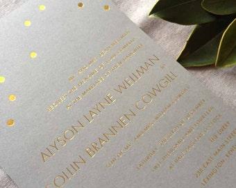 Sample Gold Confetti wedding invitation suite