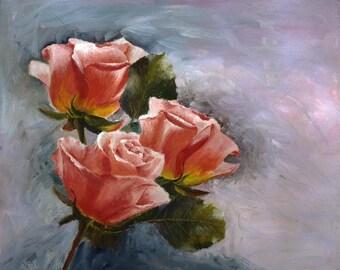 Oil painting on canvas, original, not print, handmade, roses
