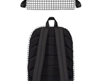 Black & White Plaid Backpack Workout Backpack | Vacation Backpack | White Yoga Backpack | Fun Backpack | Yogawear | Yogagear | Loopy Jayne