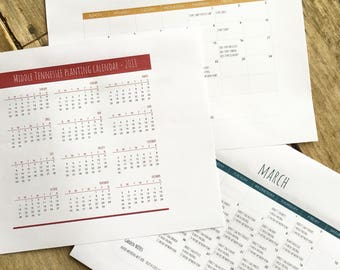2018 Printable Middle Tennessee Planting Calendar - PDF Digital Download
