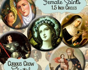 Female Saints 1.5 inch Circle Rounds Digital Collage Sheet - INSTANT Download - Religious Bottle cap Pendant Jewelry - Printable Download