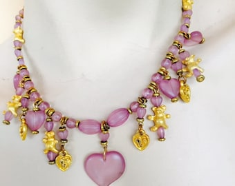 Frosted lilac heart and teddy bear charm necklace