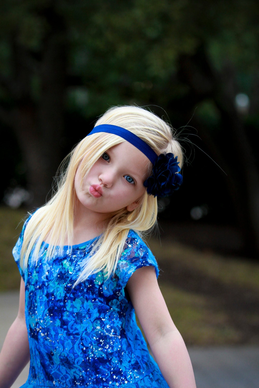 Royal Blue Flower Headband Satin Amp Tulle Flower Puff Headband