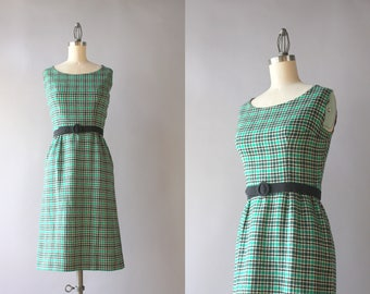 1960s Dress / Vintage 60s Emerald Plaid Wool Blend Wiggle Dress / 1960s Sleeveless Tweed Dress XS extra small