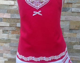 Girls cotton apron pink and white, original girl apron, adjustable ties, apron with lace