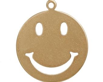 "Metal pendant, emoticon, charm ""smiley""-5 pieces-brass colors"