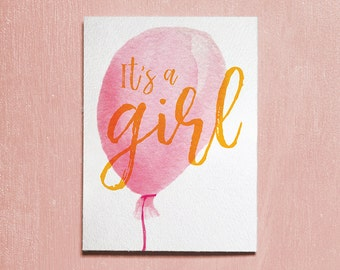 It's A Girl, Baby Girl, New Baby Card, Instant Download Printable, Baby Gift, It's a Girl Celebrations Card, New Baby Girl Card, Girl Gift