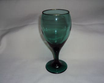 Green Glass Goblets, Set of 4