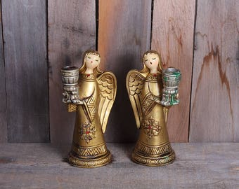 Mid Century Pair Christmas Angel Candleholders Gold Made in Japan