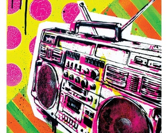 Ghetto Blastin' - 12 x 12 High Quality Pop Art Print