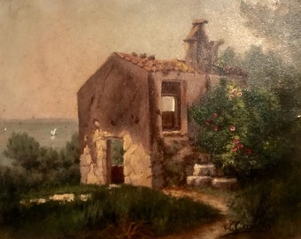 Abandoned house on a lake in France (antique oil painting)