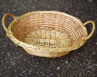 Lovely little basket oval woven Wicker, bicolor, fruit basket, vintage basket