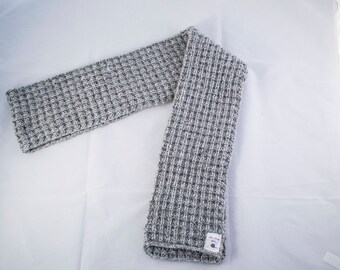 Grey Knitted Scarf | Waffle Stitch