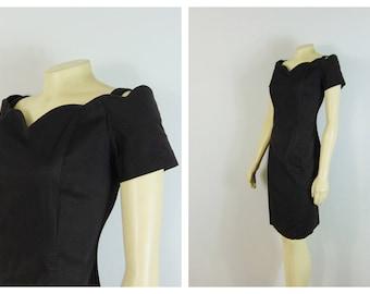 Vintage Dress 80s 90s Black Dress LBD All That Jazz Modern Size Medium to Large