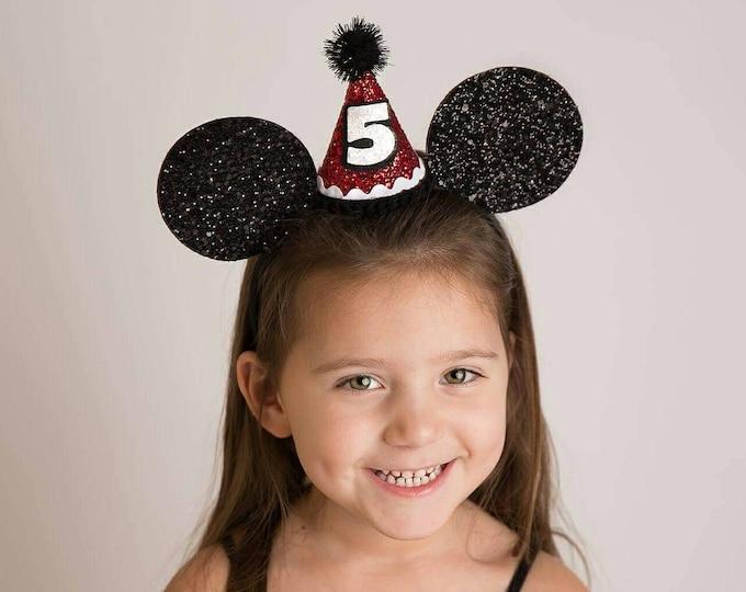 Glittery Mouse Ears Headband, birthday ears, Mouse Birthday, mouse headband,  ears, Mouse Birthday