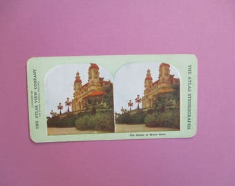 Casino at Monte Carlo Rare Antique Atlas Stereograph Card in Color Atlas View Company Chicago Vintage Stereoview Card Collectible Photograph