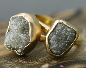 Huge Rough Diamond Engagement Ring in Recycled 18k Gold- Custom Made