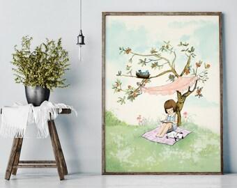 My Lovely Tree in Summer - Girl Art - Holli - Nursery Wall Art - Nursery Decor - Childrens Art - Kids Wall Art - Nursery Art