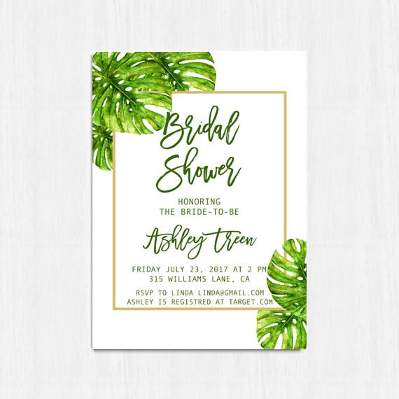 Monstera bridal shower invitation tropical bridal shower monstera bridal shower invitation tropical bridal shower invitation beach bridal shower palm leaf invite gold and green invitation filmwisefo Image collections