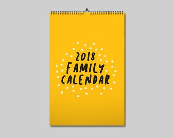 A3 2018 Family Wall Calendar / Planner / Personalised family calendar / Family gift / Family present