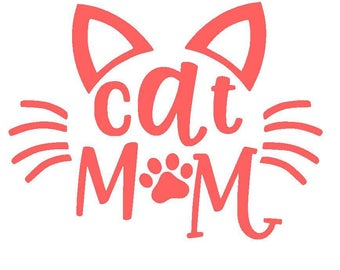 Cat Mom Vinyl Decal | Cat Decal | Fur Mom | Yeti Cup Decal | Car Window Decal | Laptop Sticker | Animal Lover |