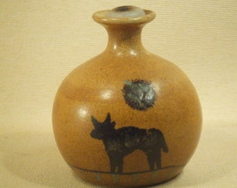 Southwest oil lamp - stoneware with brown and black glaze